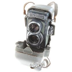 Grey Baby Rolleiflex K5 4x4 Tlr Camera With Case, Lens Hood & Cap Excellent