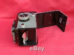 ROLLEIFLEX T GREY TLR FILM CAMERA, TESSAR 75mm f3.5 LENS, CAP, STRAP & CASE