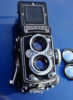 Rolleiflex 3.5 E2 TLR Camera & Schneider Xenotar 75mm f3.5 Caps & Case EXC++