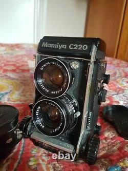Tested and Working Mamiya C220 Professional F TLR Camera with 80mm & 55mm Lens