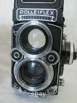 White Face Rolleiflex 2.8 Xenotar 80mm f/2.8 Heidomat TLR Leather Case Lens Cap
